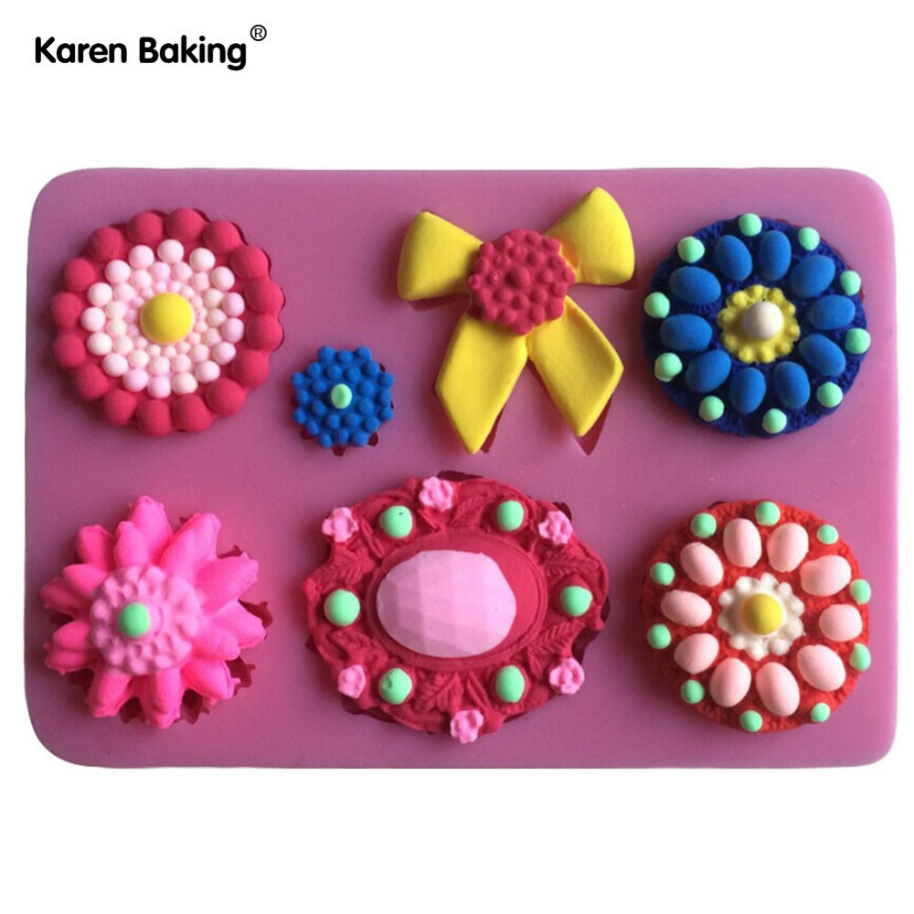 Cake Decoration J D O O : Flowers And Bows Shape Silicone Mold Cake Decoration ...