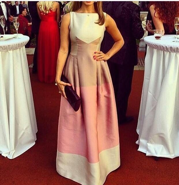 Saudi Arabia Dubai Middle East 2016 Boat Neck Cap Sleeve Ruched A-Line Long Evening Dress Vestido De Festa Longo - SOPHOENIYA Wedding Factory store