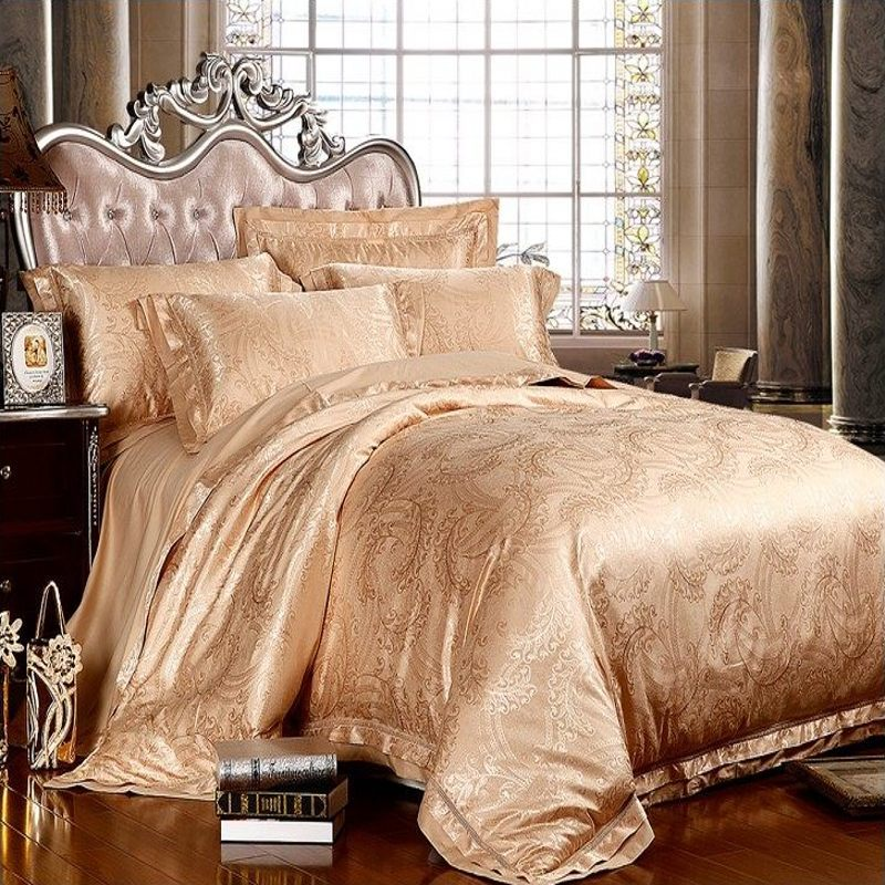 palace jacquard silk cotton bedding set king queen size. Black Bedroom Furniture Sets. Home Design Ideas