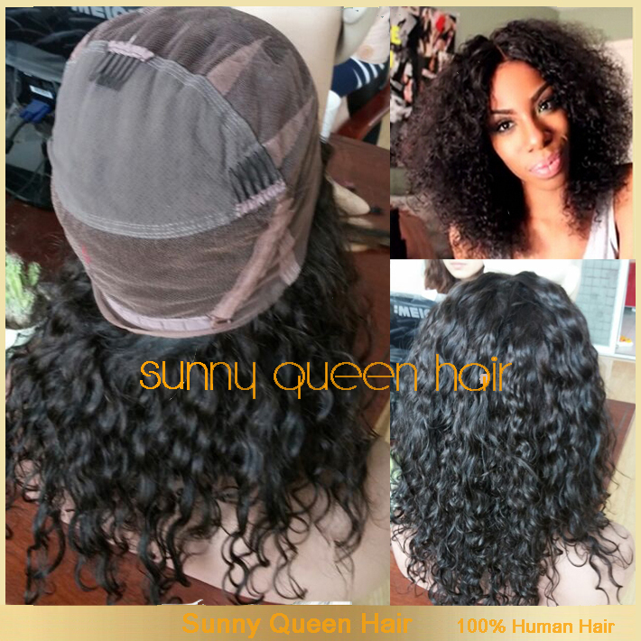 Curly Glueless Full Lace human hair Wigs/lace front black women kinky curly afro wig Bleached Knots - QingDao Golden South Hair CO,.LTD store