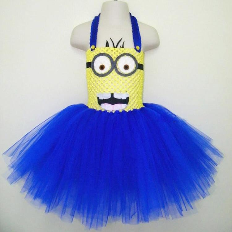 Minion Tutu inspired Dress Princess Girl Dress Cheap Tulle Crochet Tutu Dress(China (Mainland))