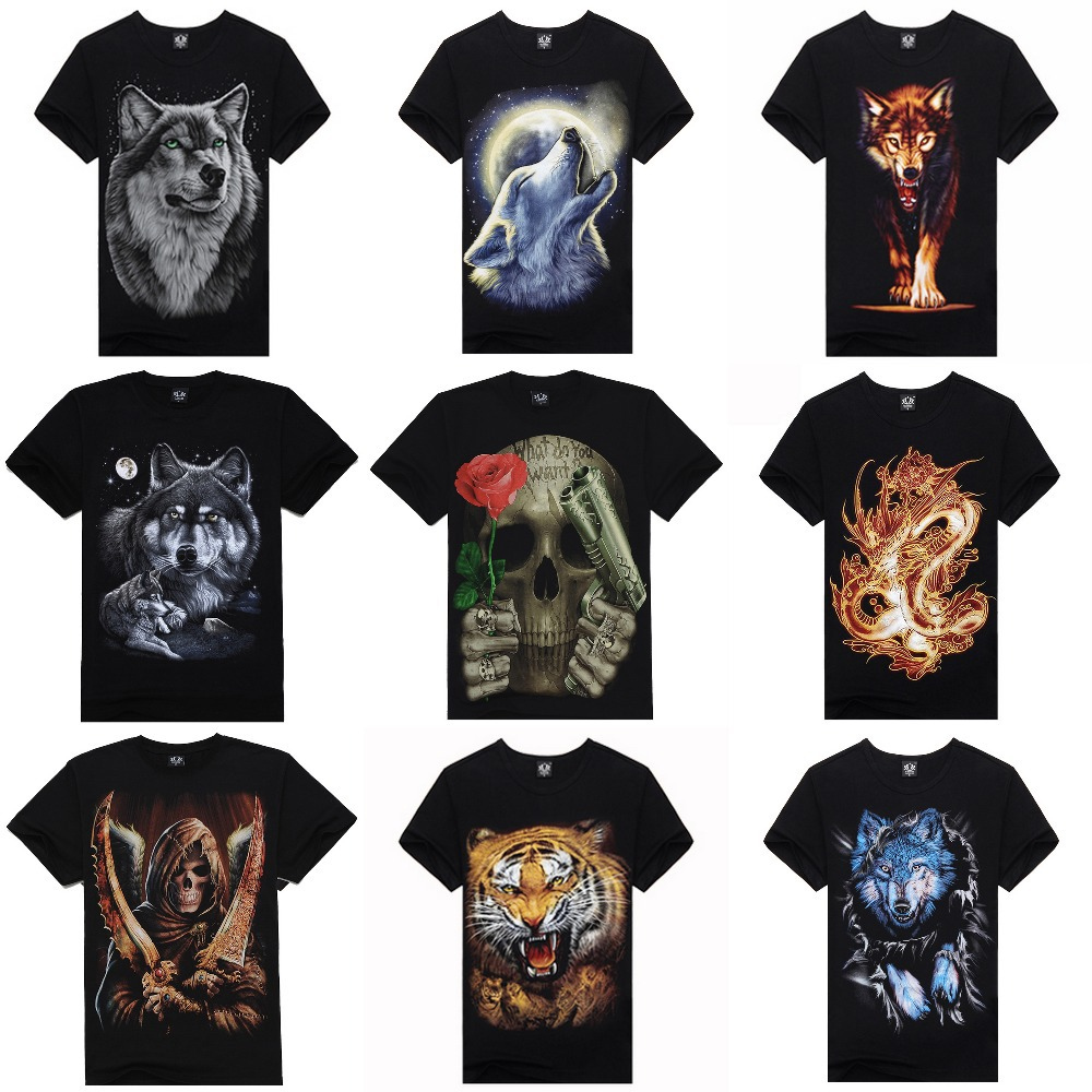 New 2014 hot men summer 3D t shirt,street fashion casual o neck 3d t-shirts,thailand design 3d t shirts wolf Europe Size,M-XXXL(China (Mainland))