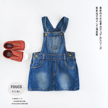 BabyPalace wholesale new 2016 summer baby girls causal solid denim suspender skirts toddler kids skirts(China (Mainland))