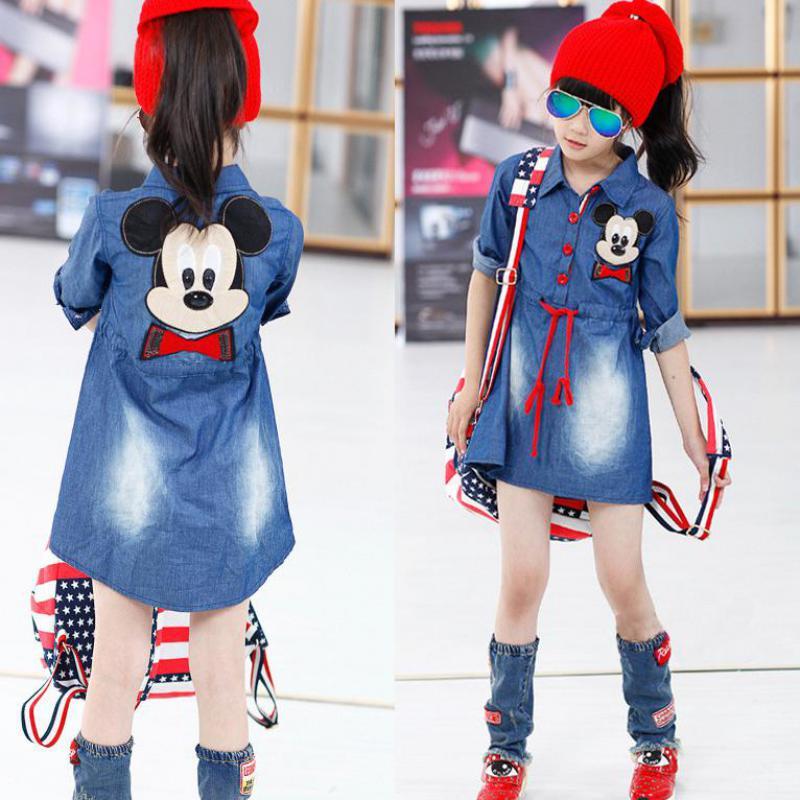 2015 New Children's Clothing Girls Cartoon Mickey Denim Blue Dress Long-sleeved Dress Princess Dress Children 5-12Year Old(China (Mainland))