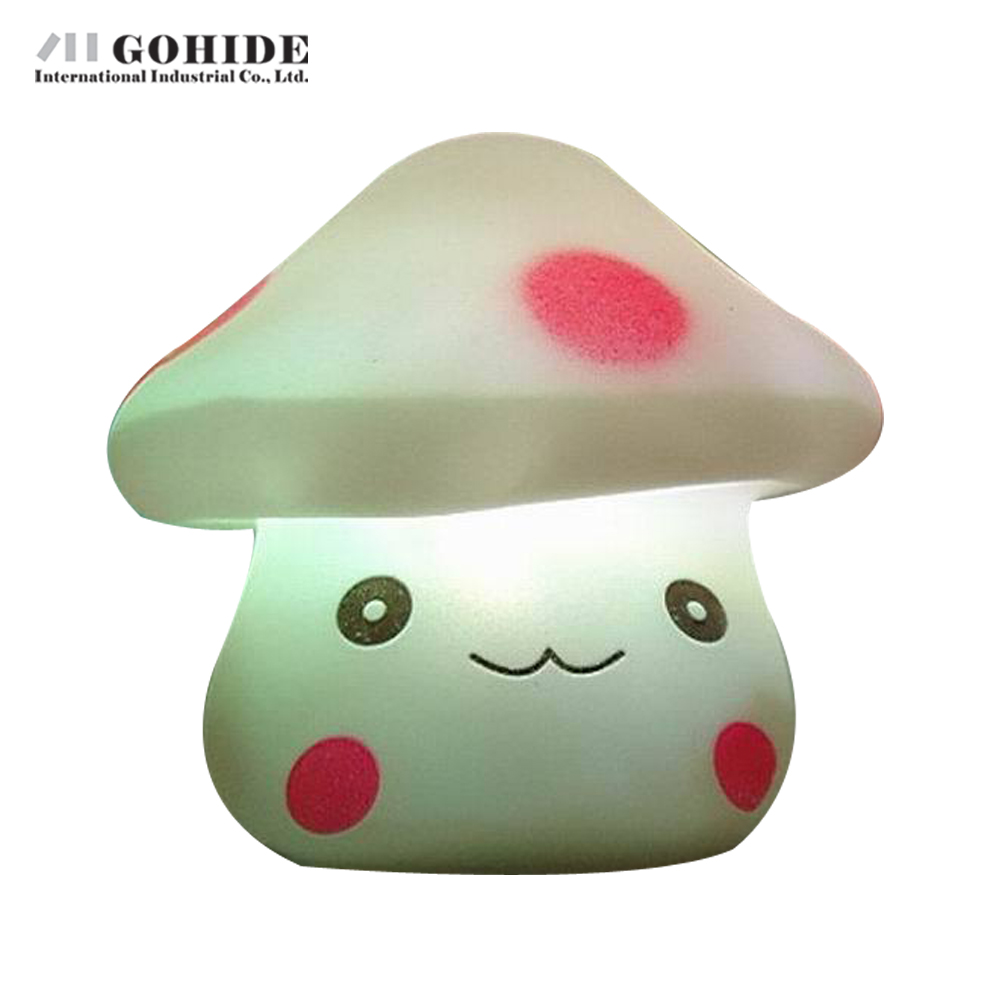 Gohide 1PCS Plastic Desk Lamps Colorful Flash Nightlight LED Mushroom LED Night Light Decoration Lamp Nightlight(China (Mainland))