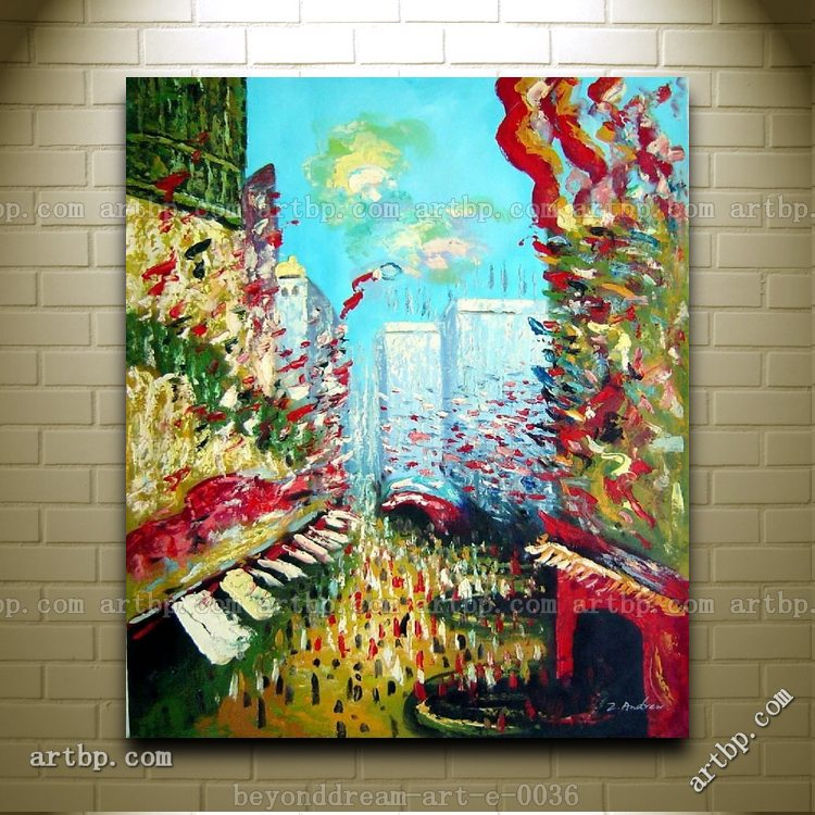 La Rue Montorgeuil Claude Monet Reproduction Oil Painting Impressionism Canvas Art Set Of 5 Picture Frame For Living Room(China (Mainland))