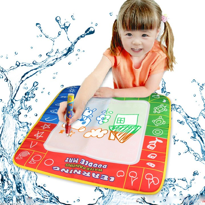 2015 New 49 x 49 cm Aqua Magic Doodle Mat/Aquadoodle Magic Water Doodle Drawing Mat For Children 1 mat+2 magic pens 25(China (Mainland))