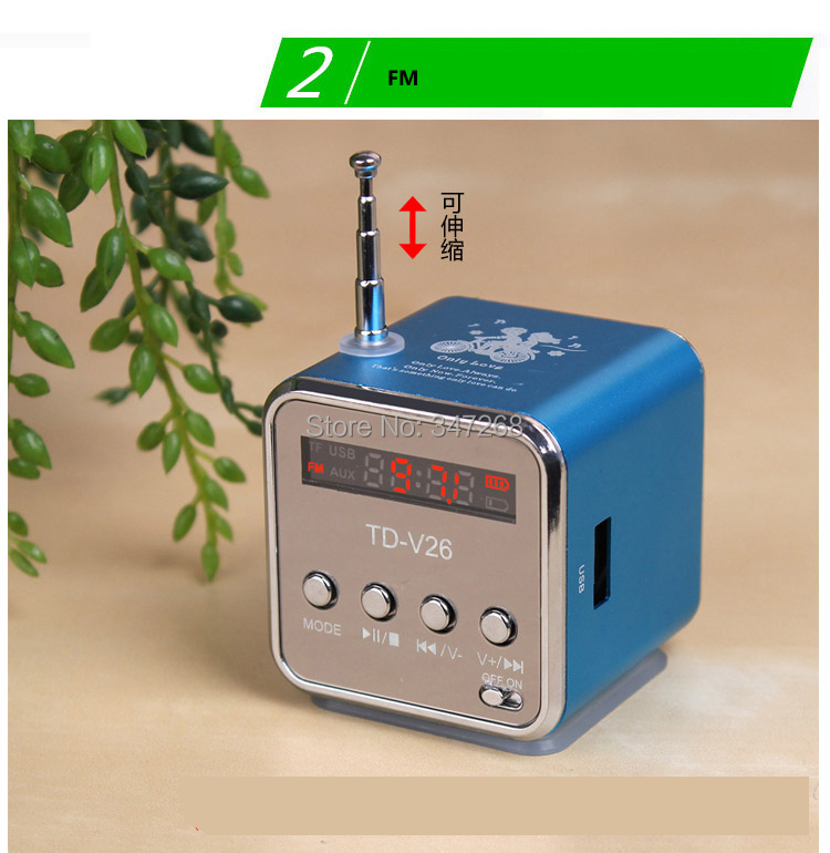 New Portable Mini Cube Digital FM Radio Speaker MicroSD Reader, USB, FM Radio LCD Display Sound Box(China (Mainland))