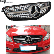 AMG Style Mercedes W204 Diamonds Radiator Grill Front Sporty C63 Grill for Benz 2007-2014 C Class C180 C200 C260 C300(China (Mainland))