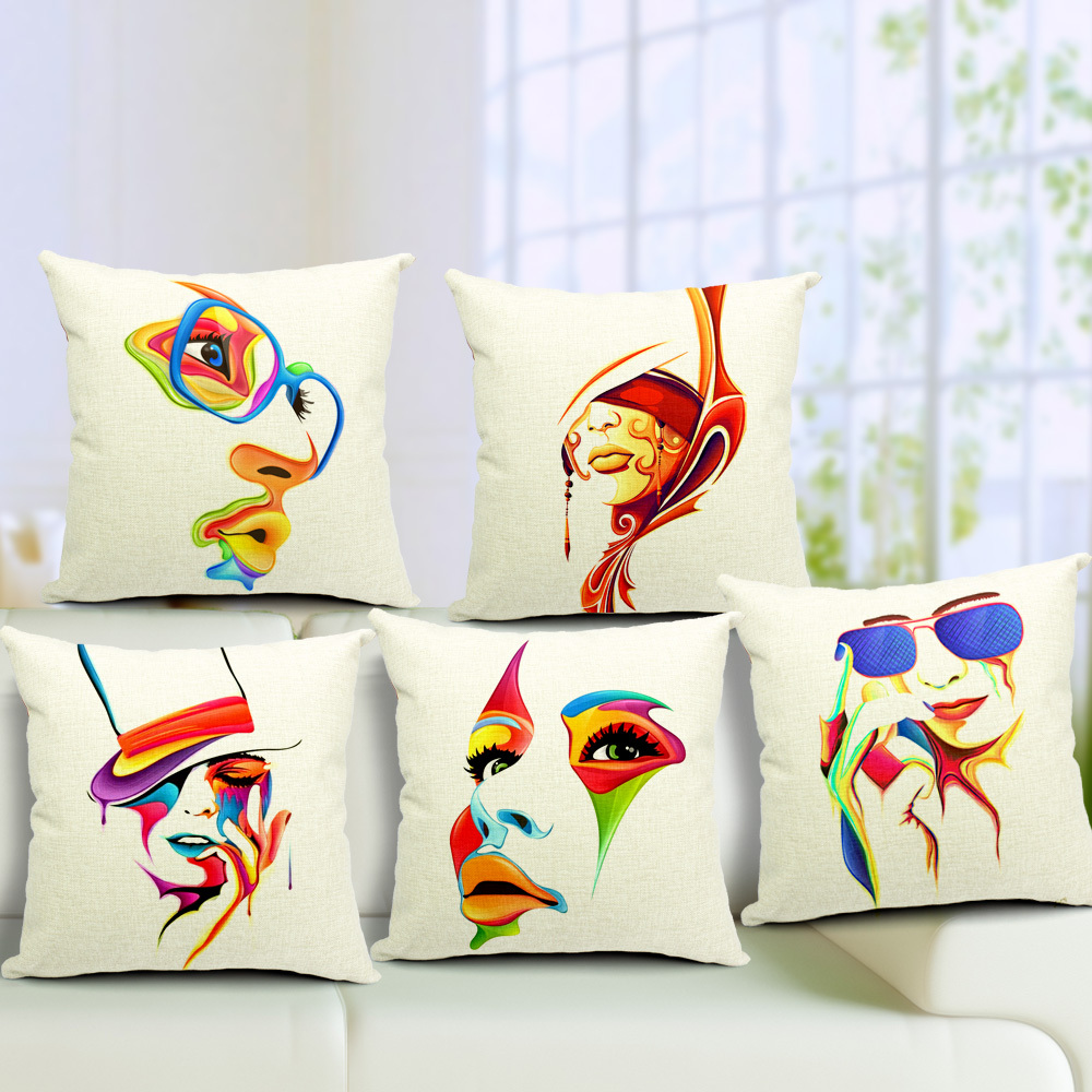 Abstract Colorful Painting Women Face Linen Cushion Cover Pillow Case Home Art Decor Almofadas 18*18inch coussin(China (Mainland))