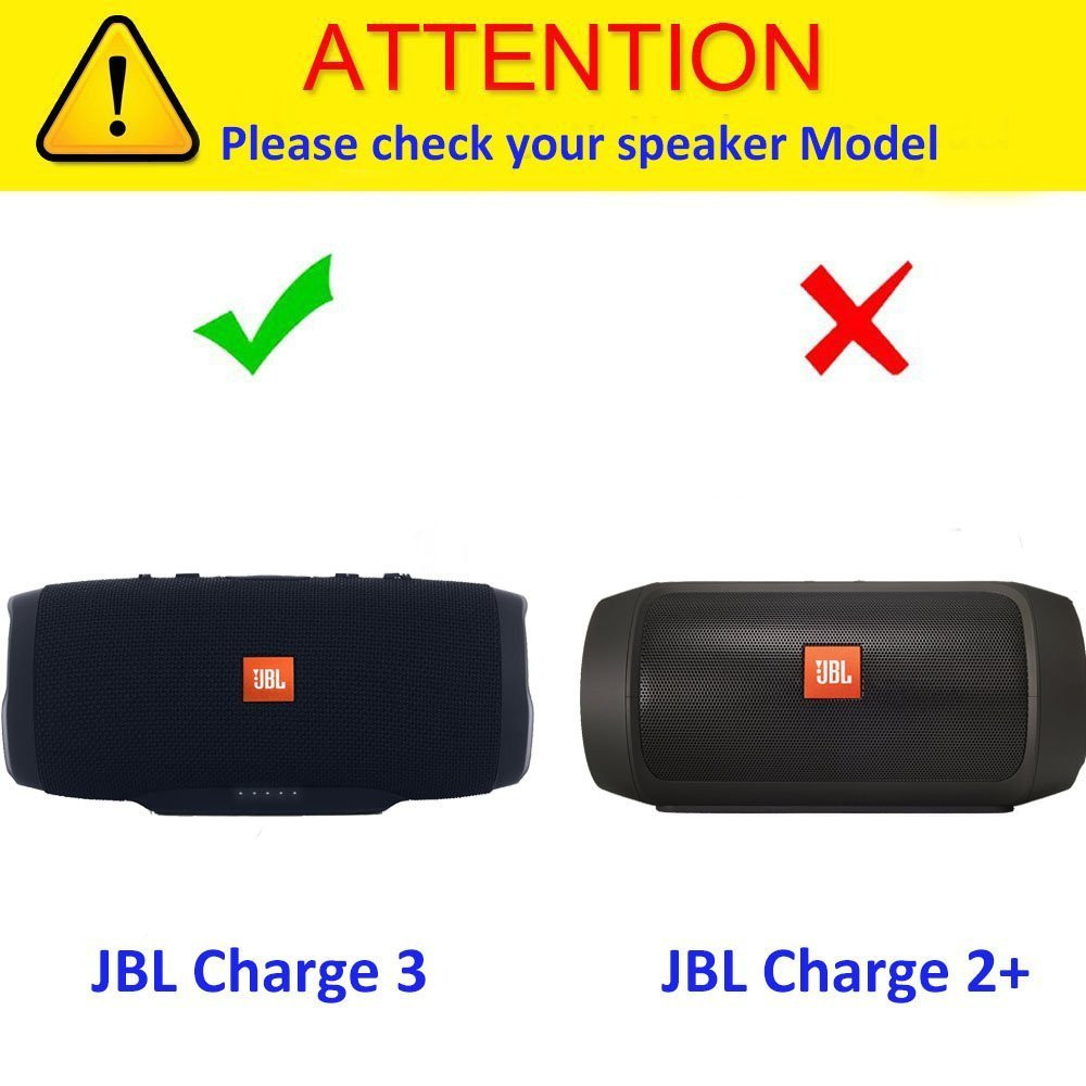 EVA Hard Cover Travel Carrying Storage Case For JBL Charge 3 /Charge 2 Speaker. Extra Room For Charger and USB Cable(With Belt)