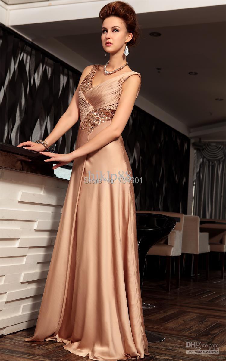 Custom made!2015 beautiful Satin A-Line Floor-Length Tank Natural Sequined Sleeveless V-Neck Evening dresses - DENIA'S BRIDAL store