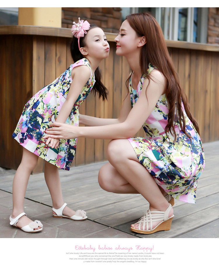 2015 Summer love a parent-child outfit  cotton red net cloth round collar T-shirt family matching clothing<br><br>Aliexpress