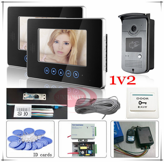 1V2 Perfect Touch button Video door phones intercom system RFID Access SONY 700TVL,HD Camera+E-lock+Access control power supply(China (Mainland))