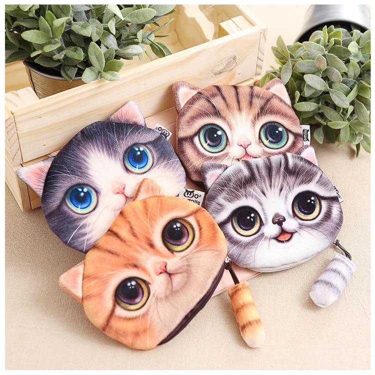 (1Pcs/Sell) Kawaii Cats Zipper Pencils Bags Cute 3D Plush Pencils Case 2017 New Case Large Capacity School Supplies Stationery(China (Mainland))