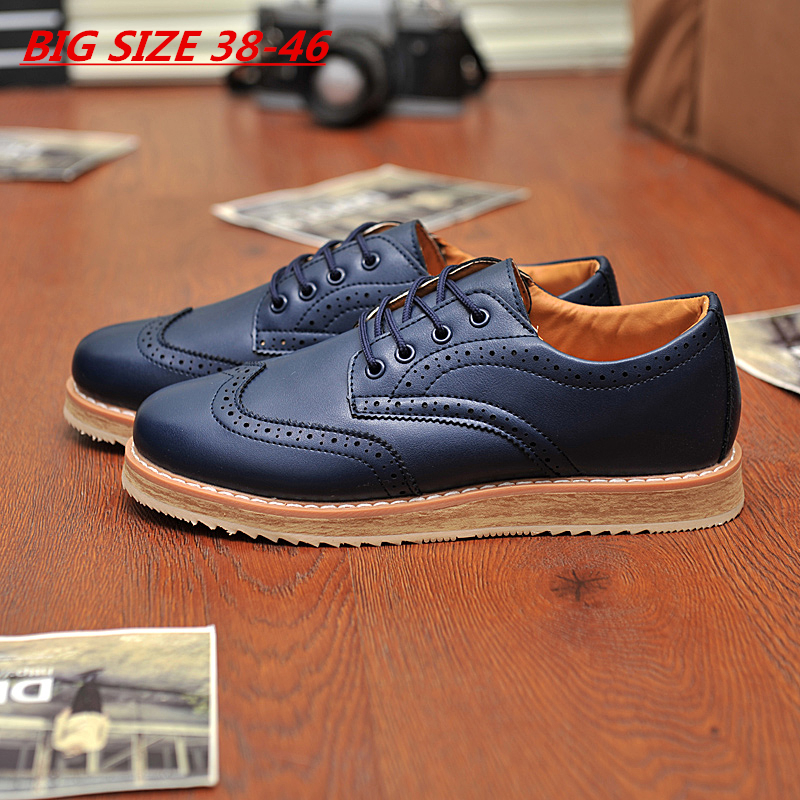 2015 Vintage Navy 38-46 Men's Leather Flats Business Dress Oxfords Shoes Platform Casual Italy Brand Creepers For Men Mocassins(China (Mainland))