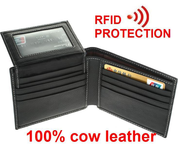 MRF2 2015 new stylish bifold purse with detachable card holder+ RFID BLOCKING Men wallet+ genuine cow Leather +RFID protection(China (Mainland))