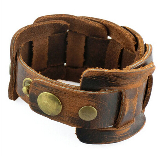 100% genuine leather bracelet fashion cowhide charm bracelet Punk Style wholesale jewelry gifts for men high quality NSL-3(China (Mainland))