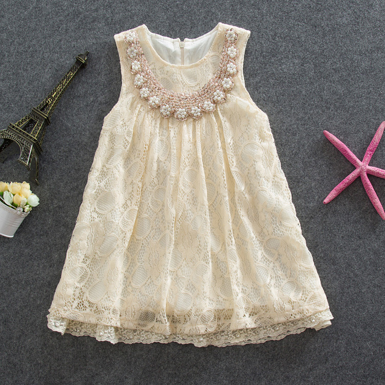 Elegant Girl Dress 2015 Summer New Girls Fashion Sequin Pearl Flower Collar Beige Lace Princess Mini Dresses Kids Clothes,2-6Y(China (Mainland))