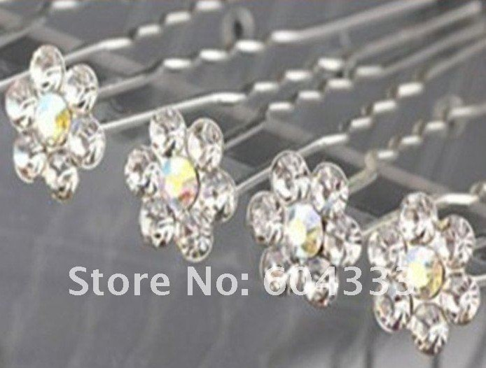 20pcs Crystal Flower Hair Pin Pins For Bridal Wedding Jewelry Hair Jewellery Clip Accessories Lots(China (Mainland))