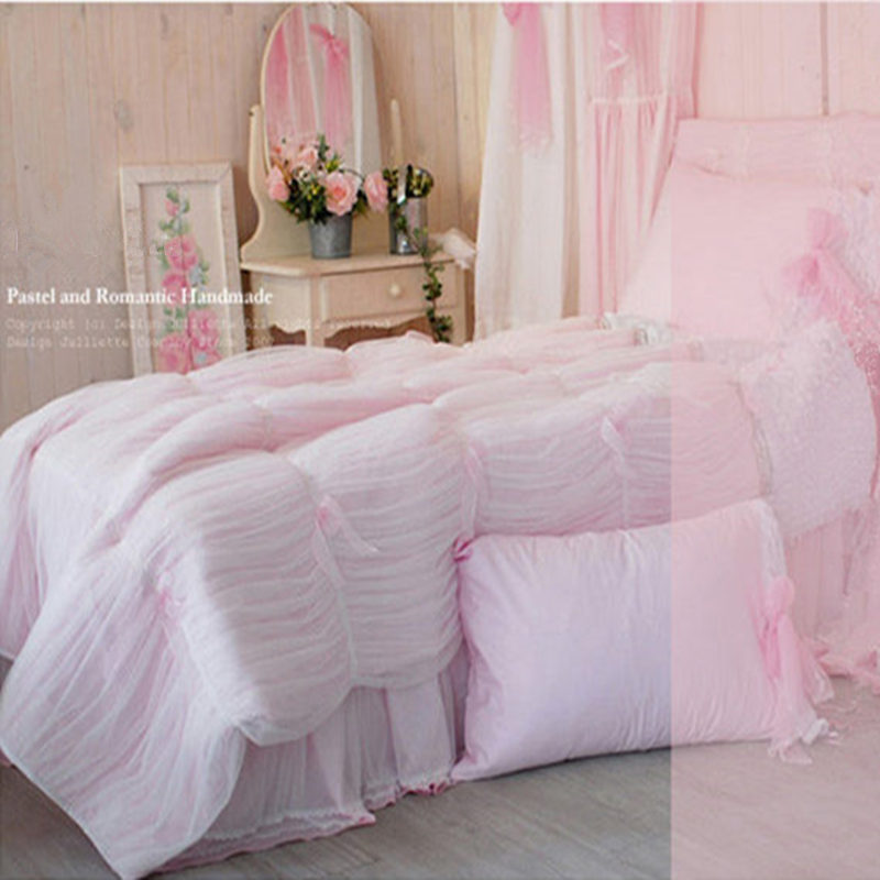4pcs set romantic bedding set pink princess lace yarn for Bedspread decoration