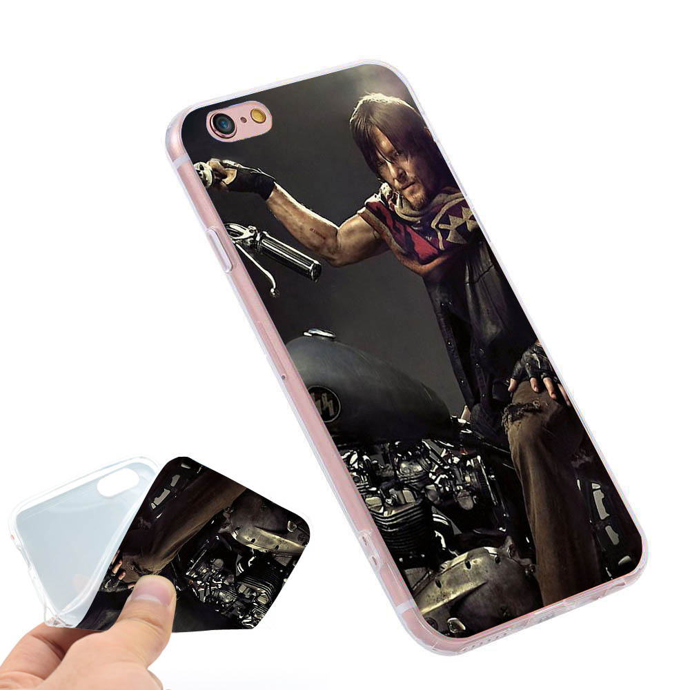 Walking Dead Daryl Dixon Clear Soft TPU Slim Silicon Phone Case Cover iPhone 4 4S 5C 5 SE 5S 7 6 6S Plus 4.7 5.5 inch