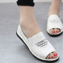 Summer new single shoes women shoes, casual leather soft bottom Peas white shoes flat fish mouth lazy shoes ladies sandals(China (Mainland))