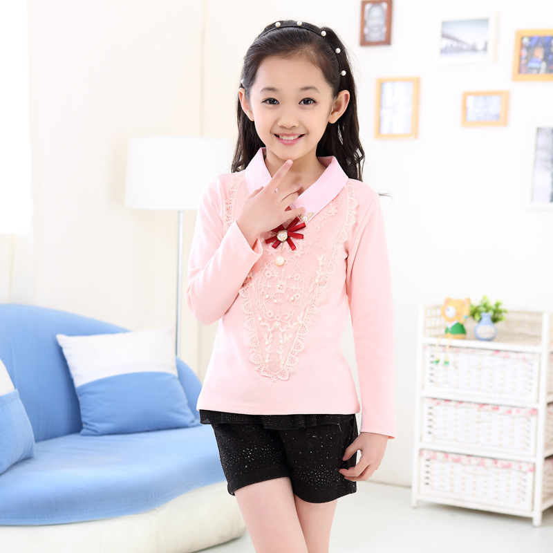 Free shipping 2015 autumn baby girls pink long sleeve t for Girls shirts size 8
