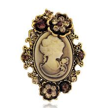 Moda antico oro argento vintage spilla pin femmina monili di marca del cammeo della regina spille con strass per le donne regalo di natale(China (Mainland))