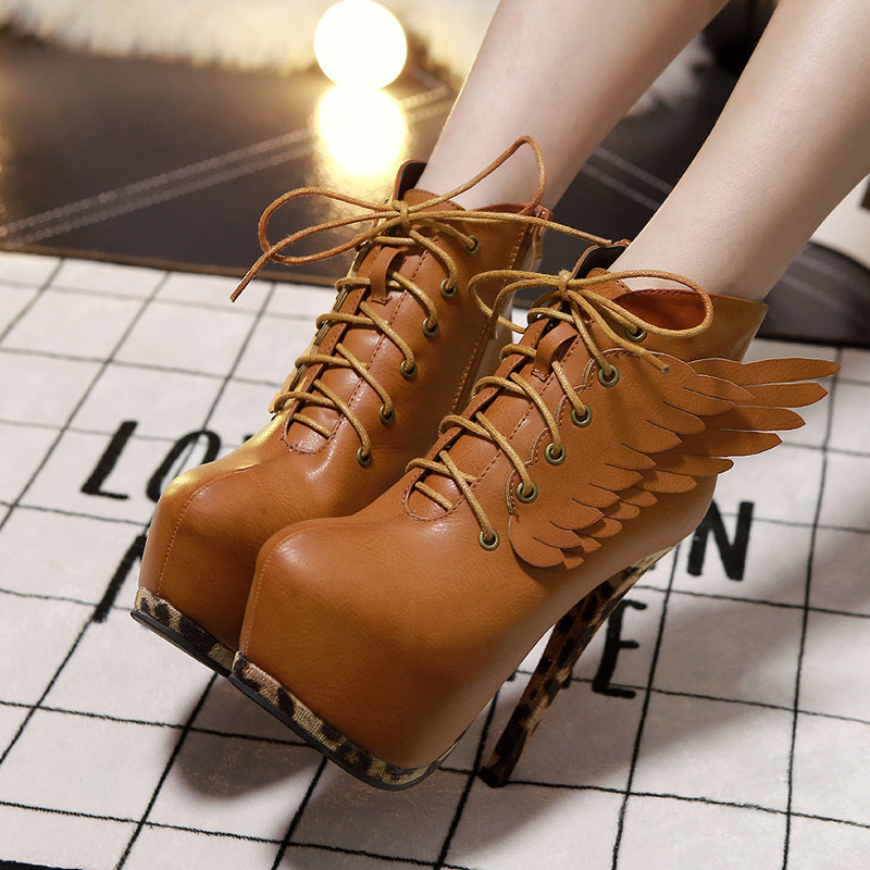 Фотография 2015 New Winter Boots Leather Boots Brush Color  Stitching With Ultra Fine High-Heeled Boots Wings