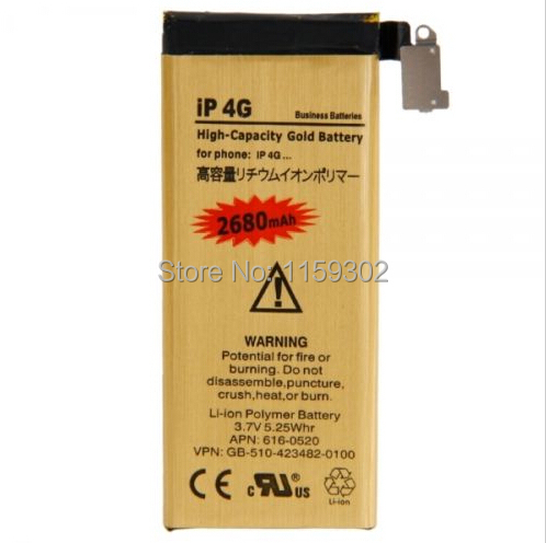 3.8V 2680mAh Original Gold Li-ion Battery Polymer Flex Cable Replacement For iPhone 4
