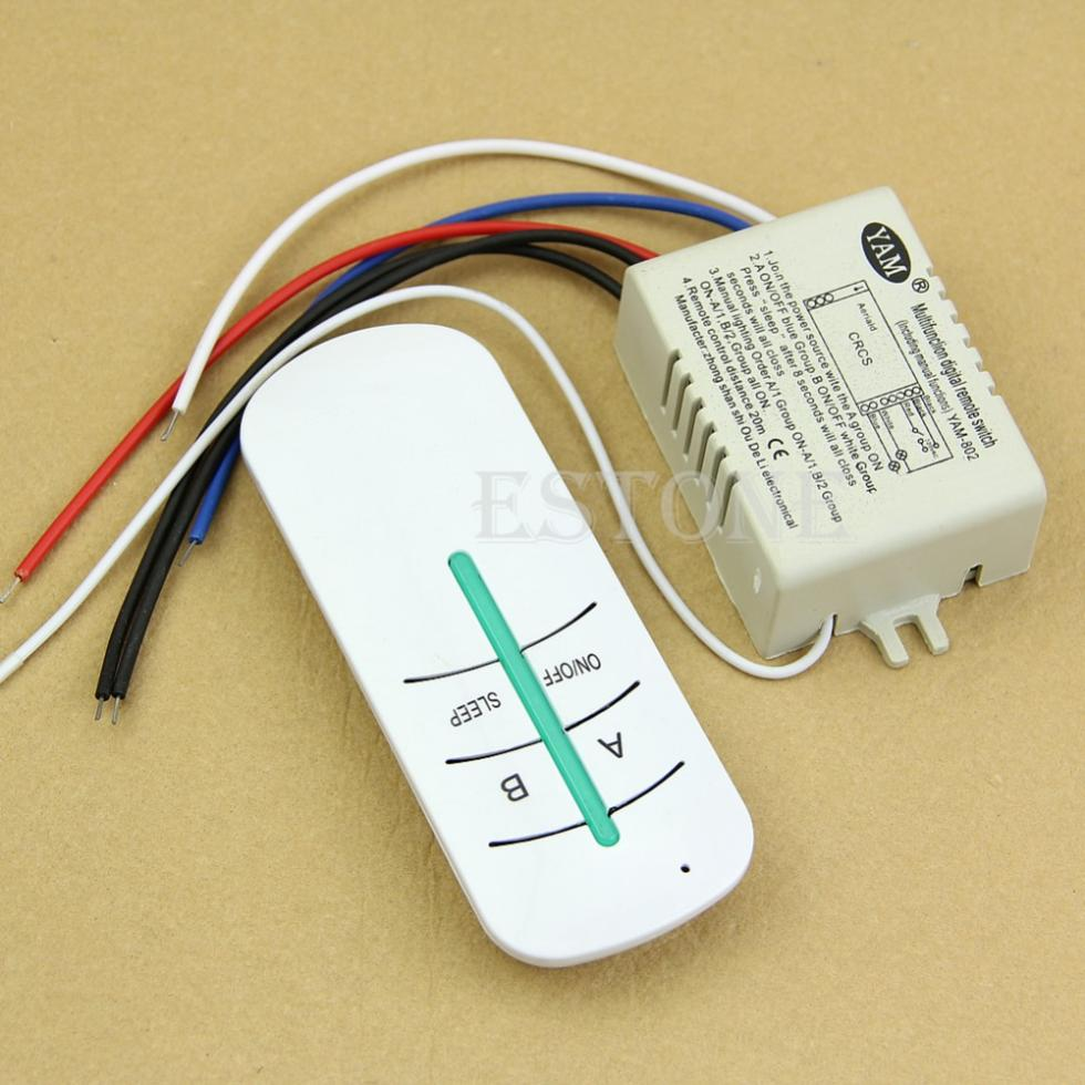 Free Shipping 220V 2-Ways ON/OFF Wireless Lamp Remote Control Switch Receiver Transmitter(China (Mainland))