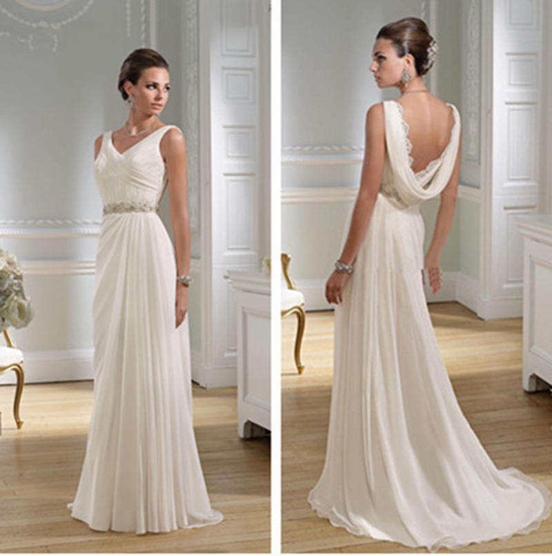 Ancient roman style wedding dresses the for Wedding dress neckline styles