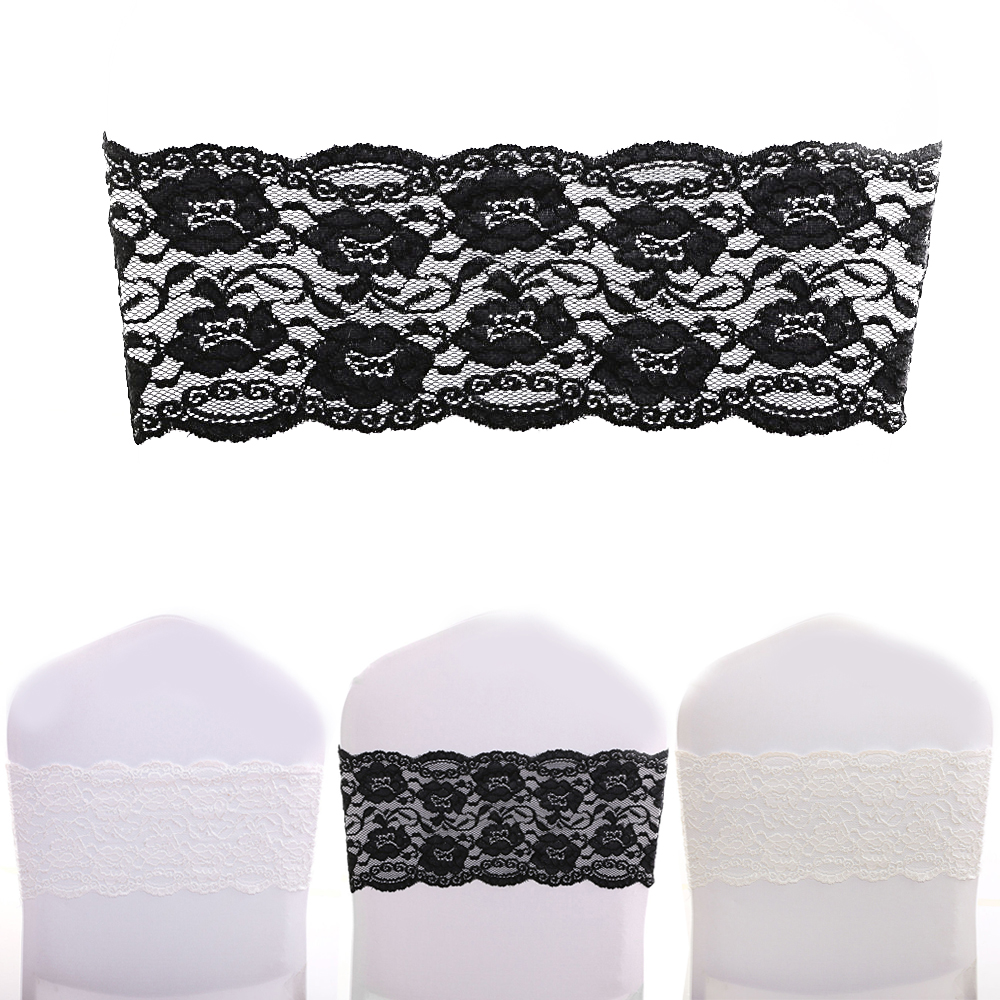 100pcs/Pack White/Black/Ivory Spandex Stretch Lace Chair Cover Bands Sashes For Wedding Party Event Decorations(China (Mainland))