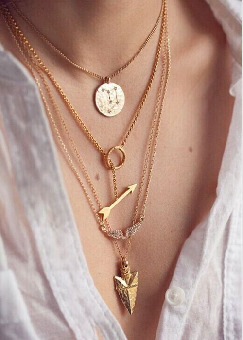 2015 New Design Gold Plated Initial lariat Multi Layer Arrow Angel Wing Anchor Charm Pendant Necklaces for Gift(China (Mainland))