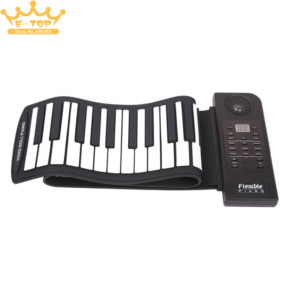 PU61S Flexible Digital Display 61Keys 128 Tones 128 Rhythms Children Toys Electronic Roll Up Piano Built-in Speaker(China (Mainland))