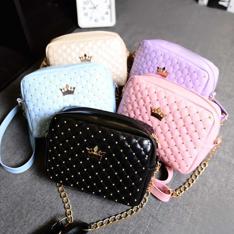 2016 new summer bag rivets small bag Fashion Shoulder cross bag bag lattice chain crown special offer<br><br>Aliexpress