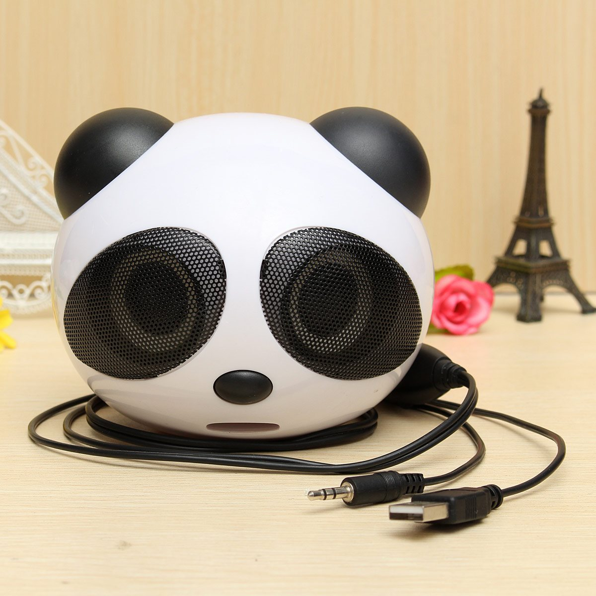 Wholesale universal Cute Panda Shape usb Portable Mini Stereo Speaker for Desktop Laptop Notebook Cellphone best quality price(China (Mainland))