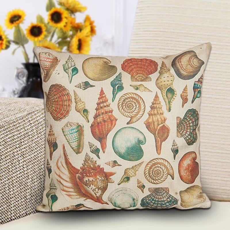 Cotton Linen Jute Sea Shell Series Mediterranean Type Sofa Pillow Cushion Car Cover Beach Cushion Cover(China (Mainland))