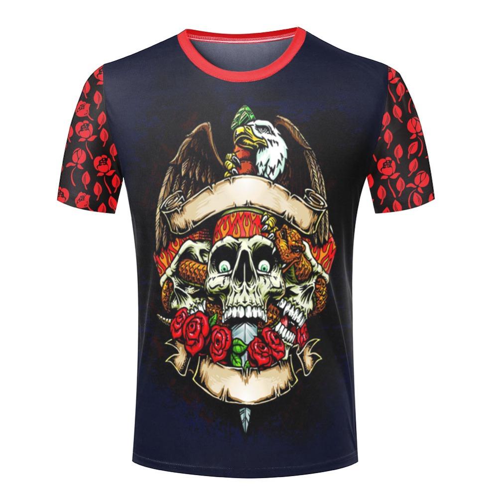 Cool 3D Skull Men T Shirt Logo Printed Round Neck Rock and Roll Tee Shirts New Arrival Hip Hop Man t-shirts(China (Mainland))