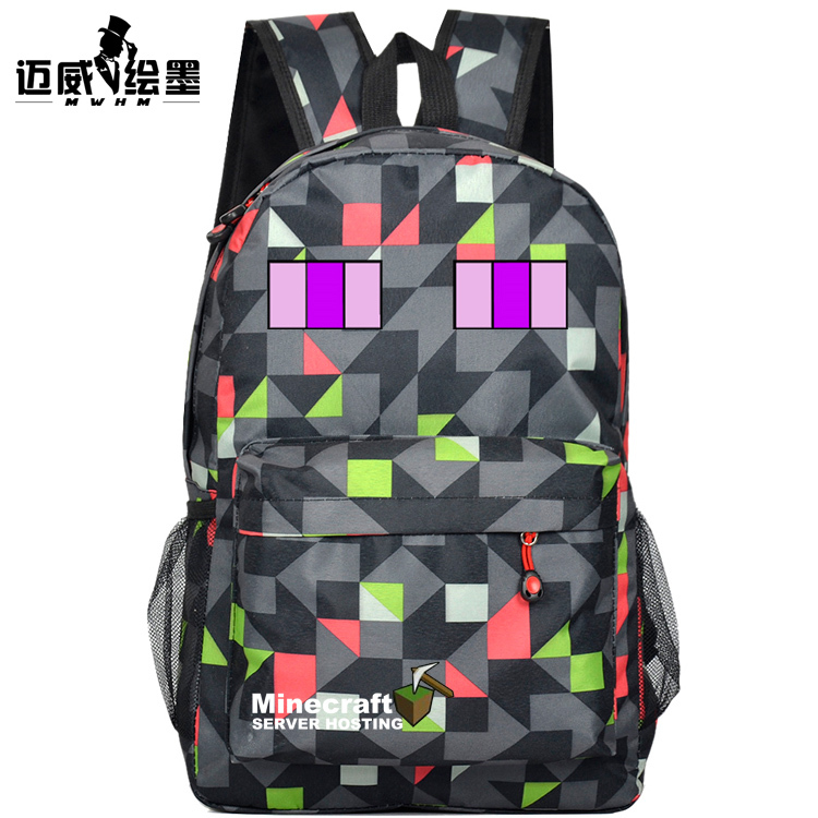 HOT-sellingschoolbag shoulder bag My world game Black nylon daypack Enderman day pack Creeper schoolbag Minecraft backpack(China (Mainland))
