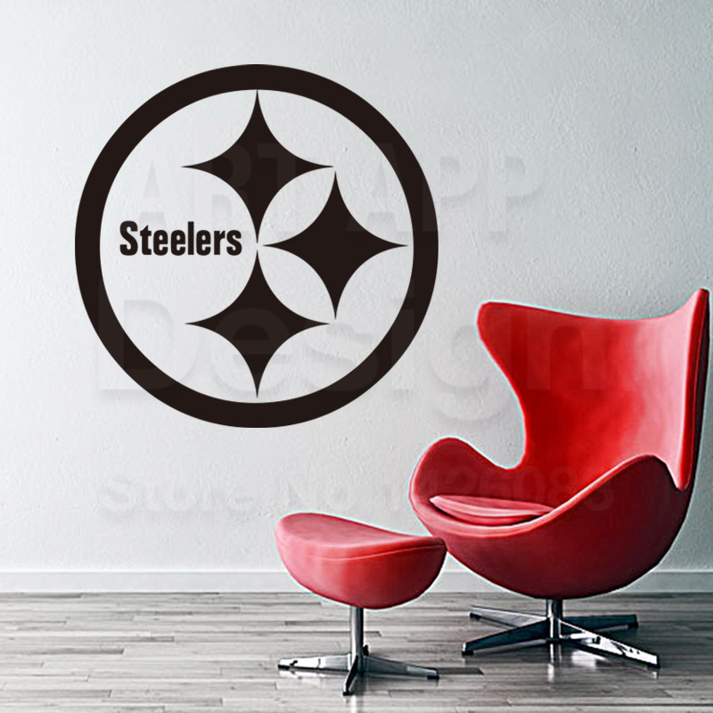 Art design cheap vinyl home decoration Pittsburgh Steelers logo wall sticker removable house decor Rugby sports decals in rooms(China (Mainland))