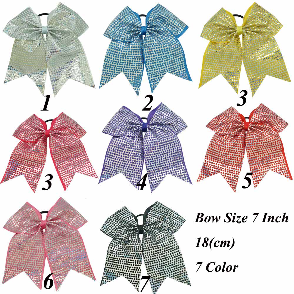 32 Pcs/Lot New Arrived High Quality Sequin Cheer Bow For Children Girls Sweet Elastic Hair Bands Cute Hair Bow Hair Accessories(China (Mainland))