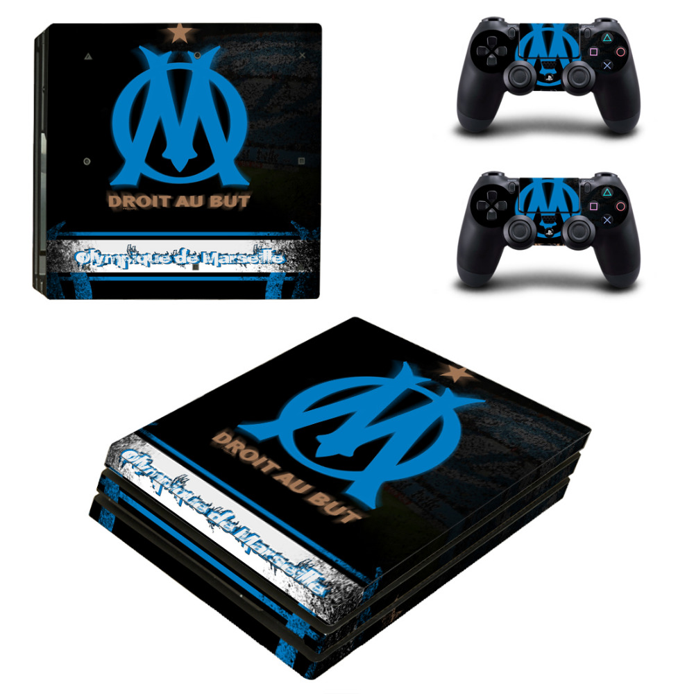 Olympique de Marseille droit au PS4 Pro Skin Sticker Decal Sony PS4 PlayStation 4 Pro Console 2 Controllers Stickers
