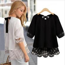 Fashion Summer Chiffon Blouses Women Tops 2016 Half Sleeve Bow Back Black White Shirts Blusas Plus Size XXL Loose Casual Blouse