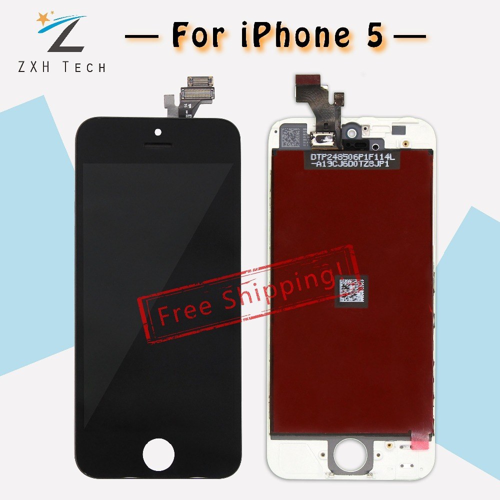 10 PCS/LOT Quality A+++ For iPhone 5 5G LCD Touch Screen Digitizer Assembly Black&White Color LCD Display Complete Free DHL Ship