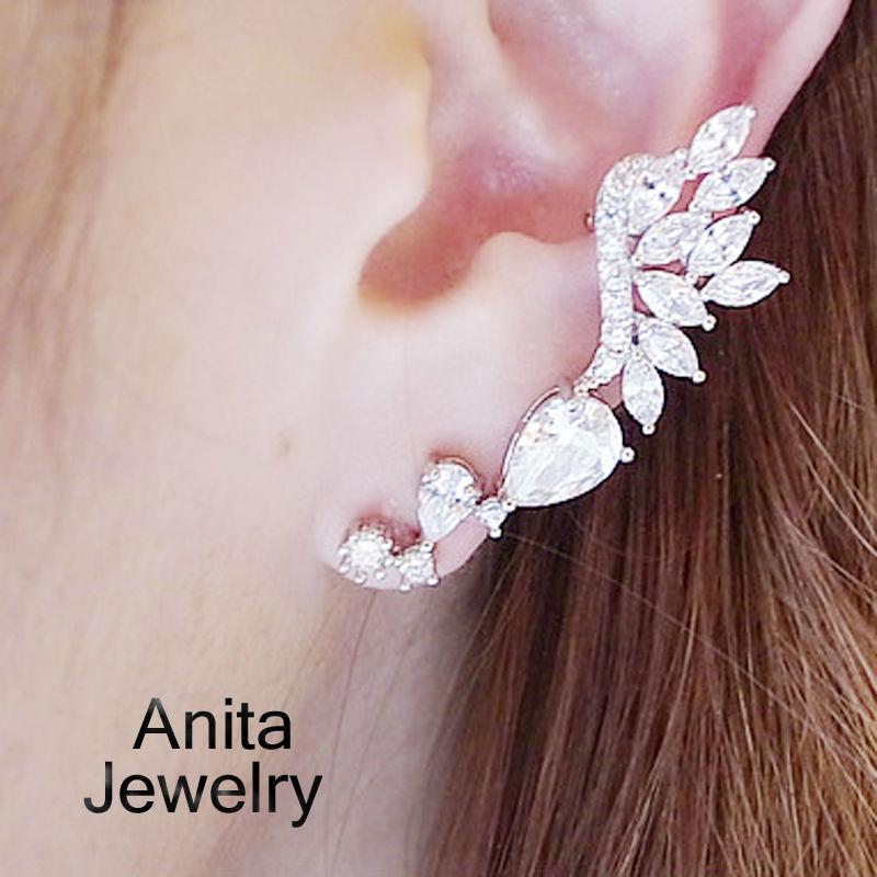 New Earring Jackets foe women,Ctystal ear clip,Angel wings modelling, 2 color, vintage style, fashion jewelry wholesale JD236(China (Mainland))
