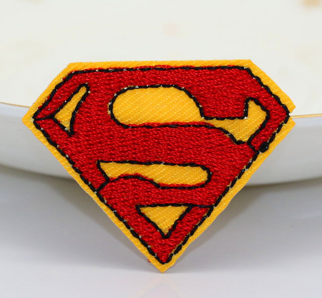 Free shipping LOT10pcs Red color Superman logo embroidered iron on patch. applique DIY accessories Tags Badges(China (Mainland))