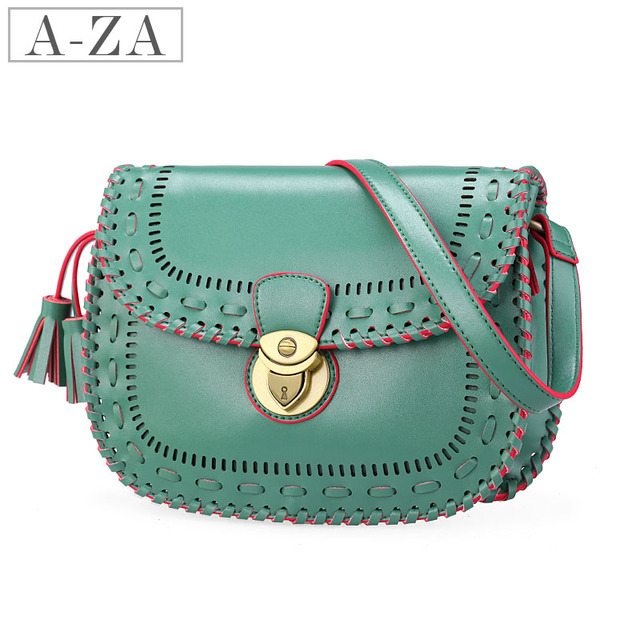 Aza 2013 spring and summer national trend cutout knitted color block women's cross-body handbag 30461
