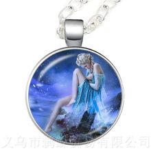 Elsa Anna Olaf ไข้จี้การ์ตูนสร้อยคอผู้หญิงเครื่องประดับสร้อยคอผู้หญิงของขวัญเด็กเงินคอลูกไม(China)